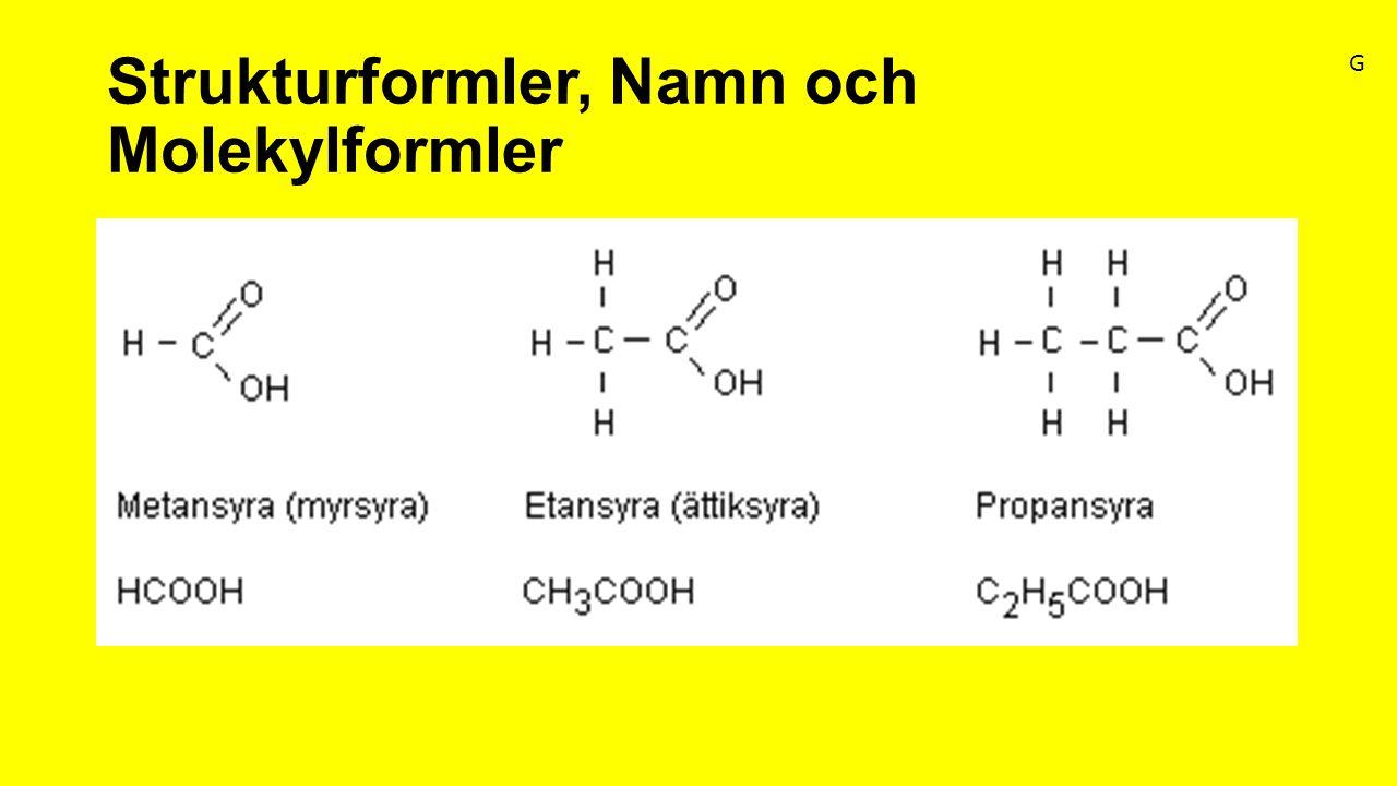 Strukturformler, Namn och Molekylformler