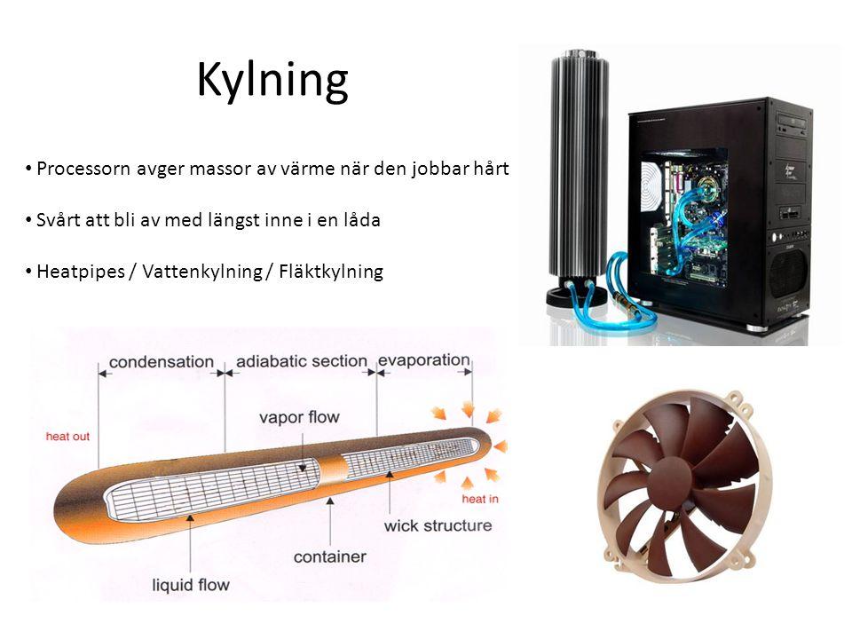 Kylning Processorn avger massor av värme när den jobbar hårt