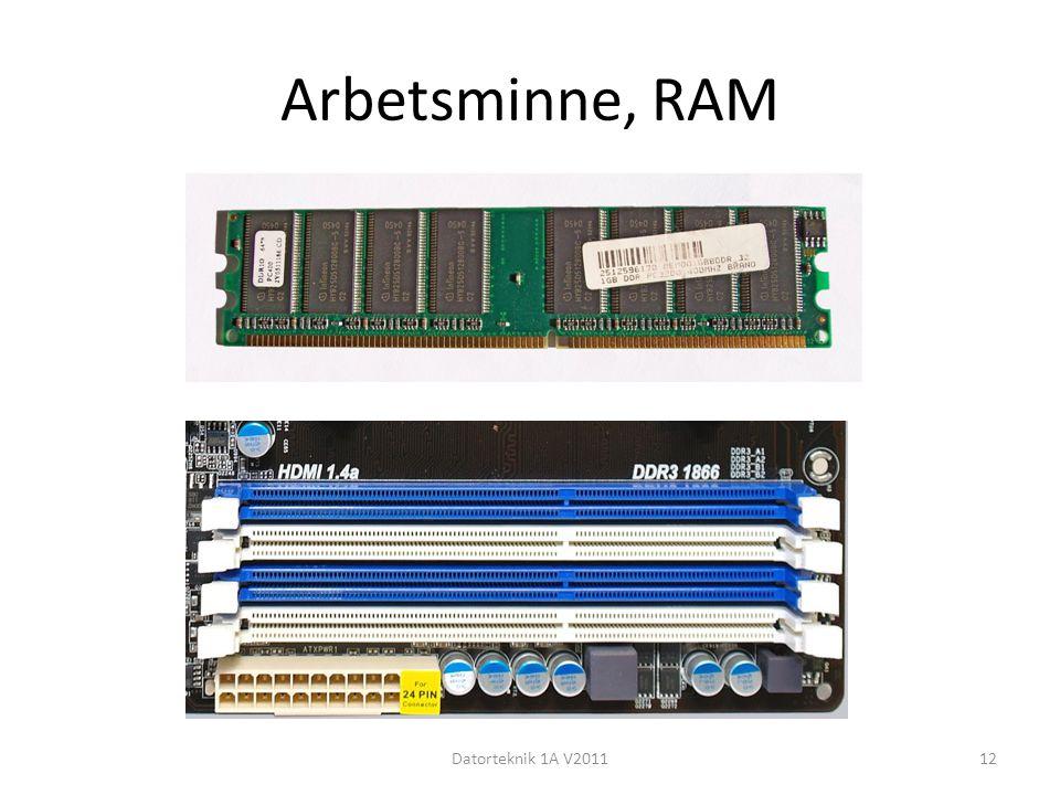 Arbetsminne, RAM Datorteknik 1A V2011