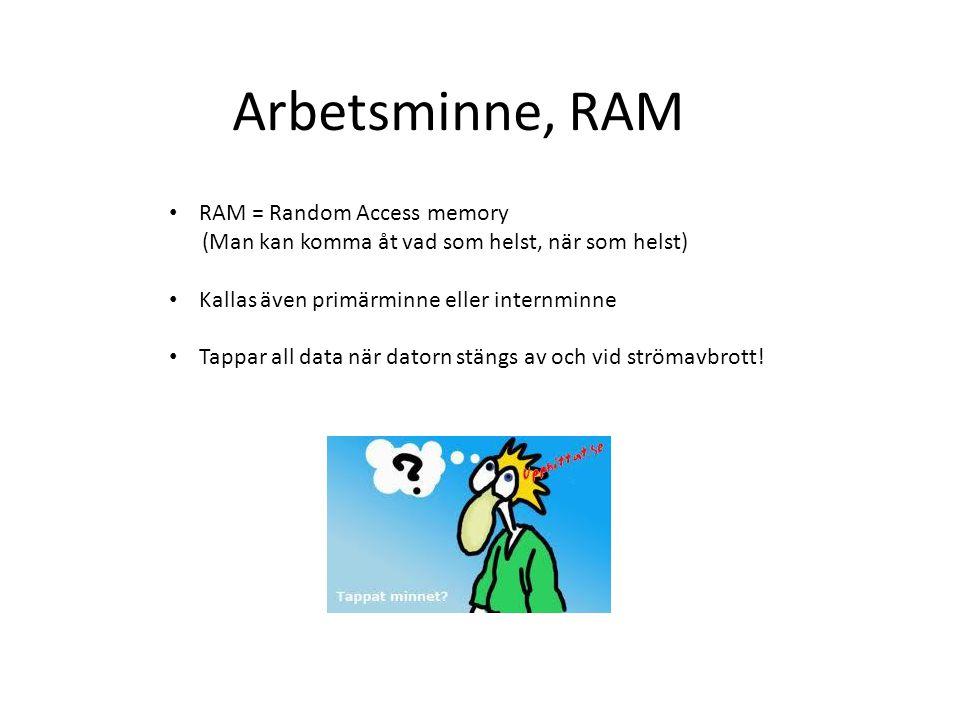 Arbetsminne, RAM RAM = Random Access memory