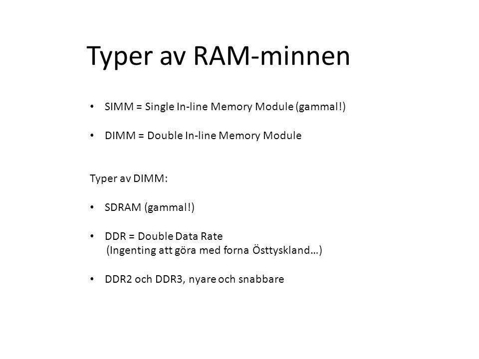 Typer av RAM-minnen SIMM = Single In-line Memory Module (gammal!)