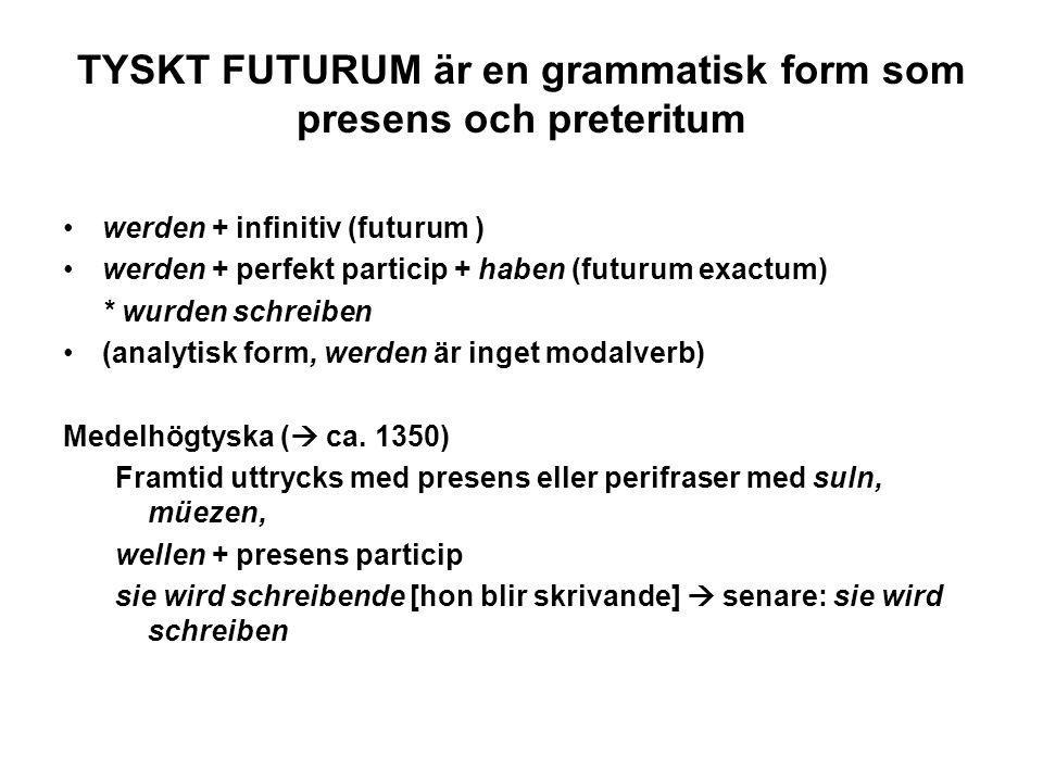 TYSKT FUTURUM är en grammatisk form som presens och preteritum