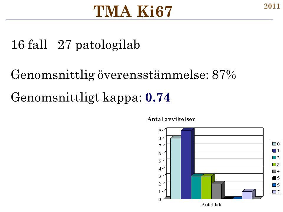 TMA Ki67 16 fall 27 patologilab Genomsnittlig överensstämmelse: 87%