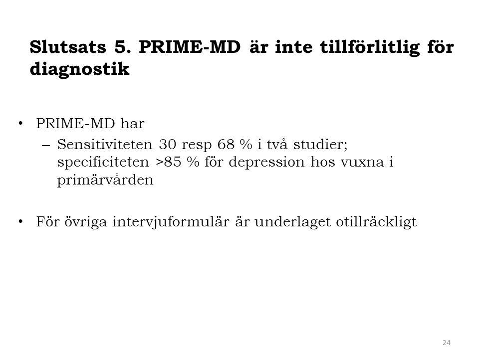 Slutsats 5. PRIME-MD är inte tillförlitlig för diagnostik