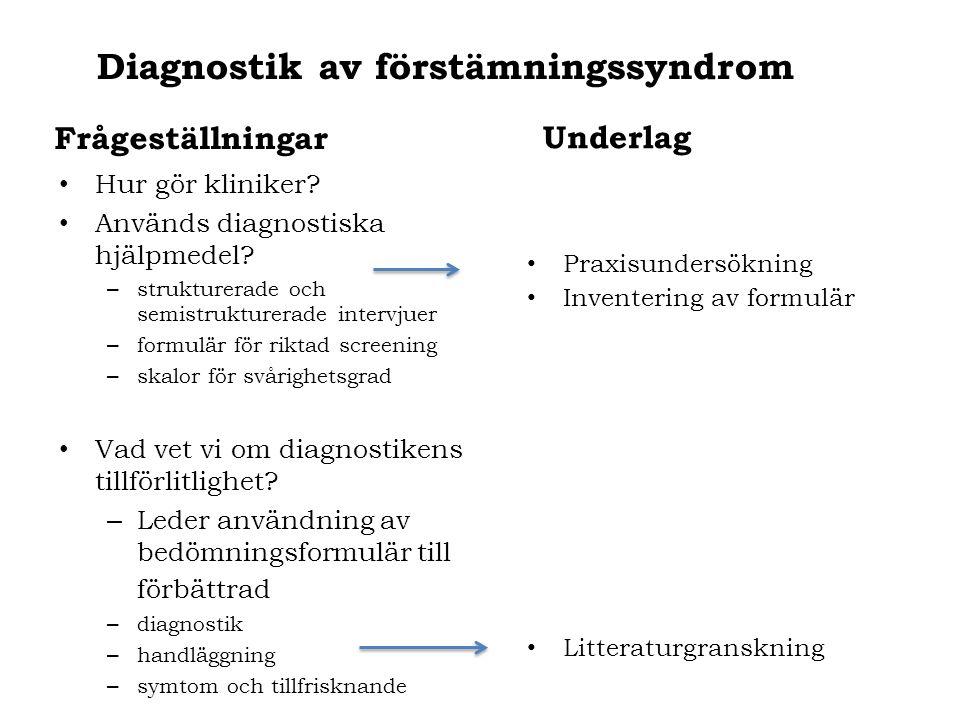 Diagnostik av förstämningssyndrom