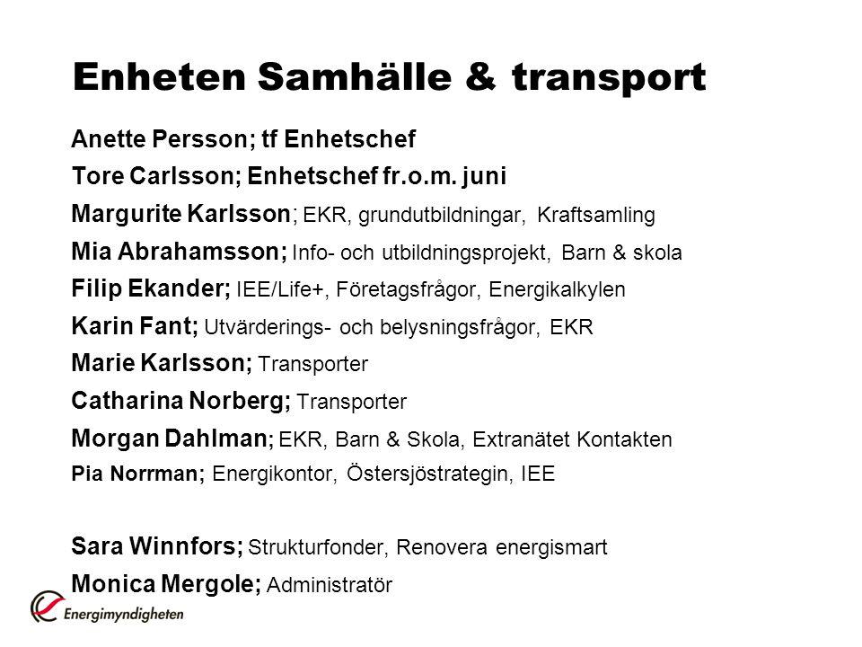 Enheten Samhälle & transport