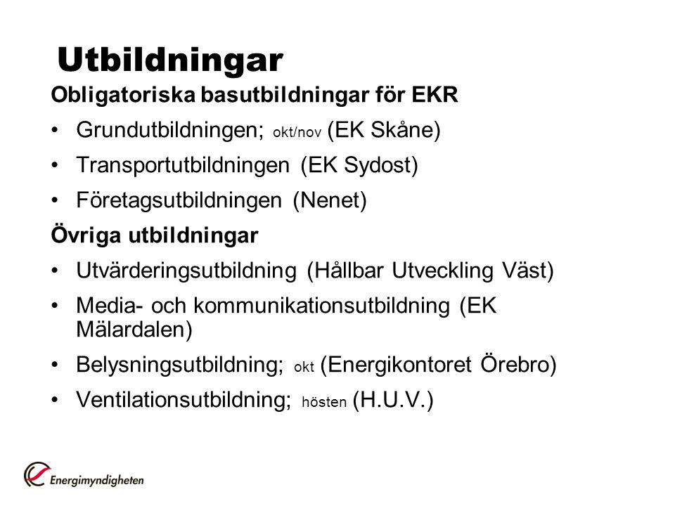 Utbildningar Obligatoriska basutbildningar för EKR