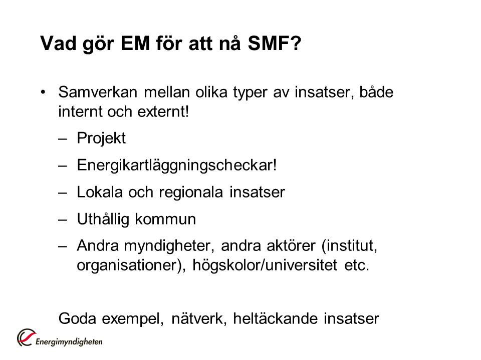 Vad gör EM för att nå SMF Samverkan mellan olika typer av insatser, både internt och externt! Projekt.