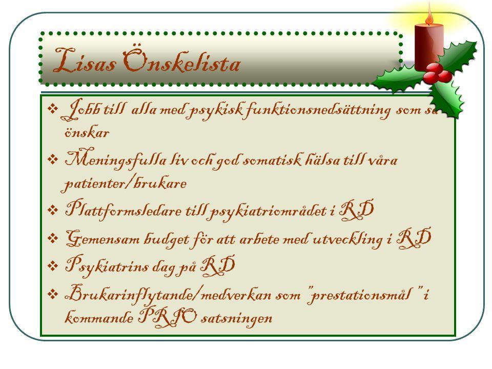 Lisas Önskelista Jobb till alla med psykisk funktionsnedsättning som så önskar. Meningsfulla liv och god somatisk hälsa till våra patienter/brukare.