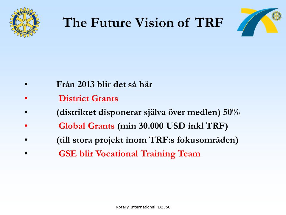 The Future Vision of TRF