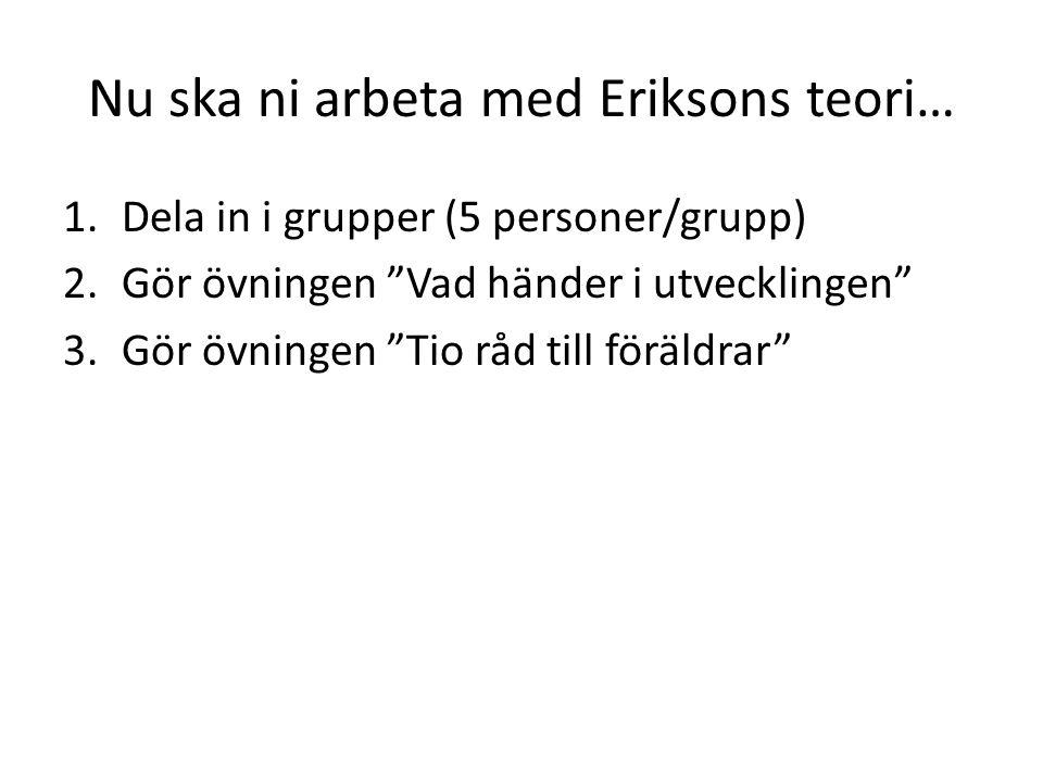 Nu ska ni arbeta med Eriksons teori…