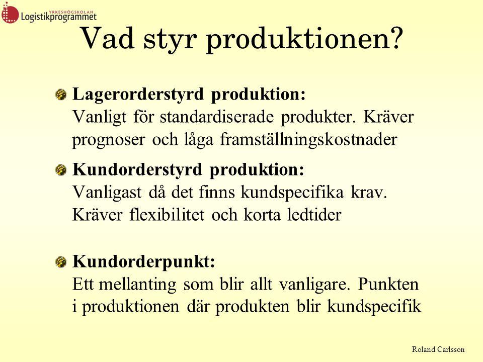 Vad styr produktionen Lagerorderstyrd produktion: Vanligt för standardiserade produkter. Kräver prognoser och låga framställningskostnader.