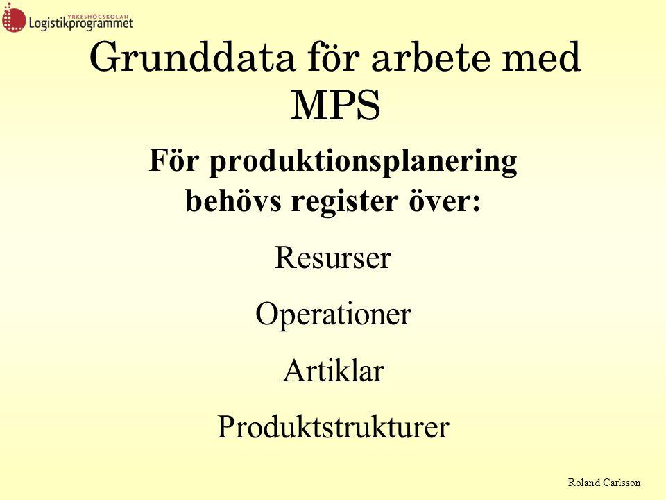 Grunddata för arbete med MPS