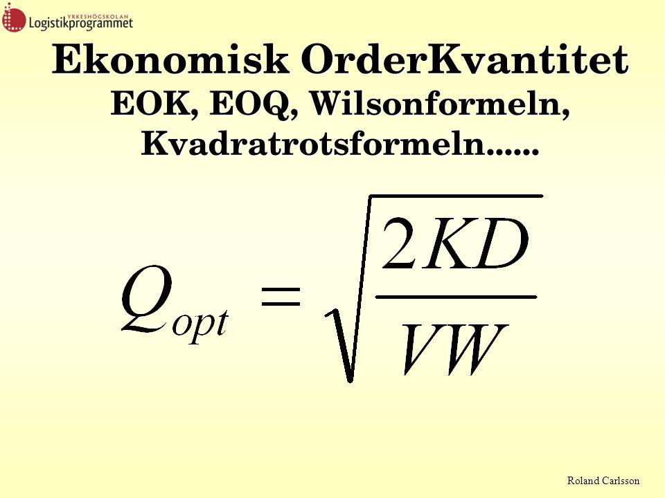 Ekonomisk OrderKvantitet EOK, EOQ, Wilsonformeln, Kvadratrotsformeln......