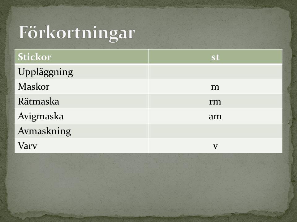 Förkortningar Stickor st Uppläggning Maskor m Rätmaska rm Avigmaska am