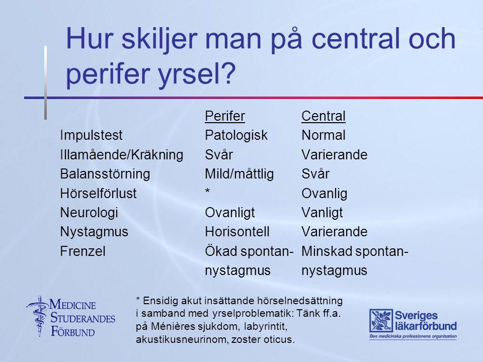 Hur skiljer man på central och perifer yrsel