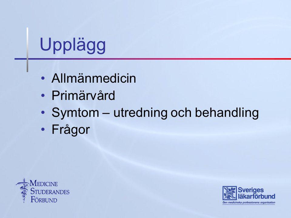Upplägg Allmänmedicin Primärvård Symtom – utredning och behandling