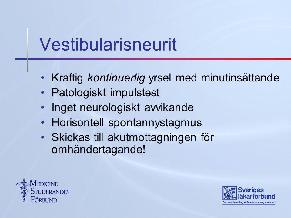 Vestibularisneurit Kraftig kontinuerlig yrsel med minutinsättande