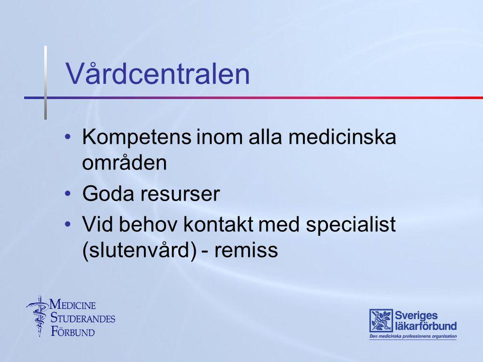 Vårdcentralen Kompetens inom alla medicinska områden Goda resurser