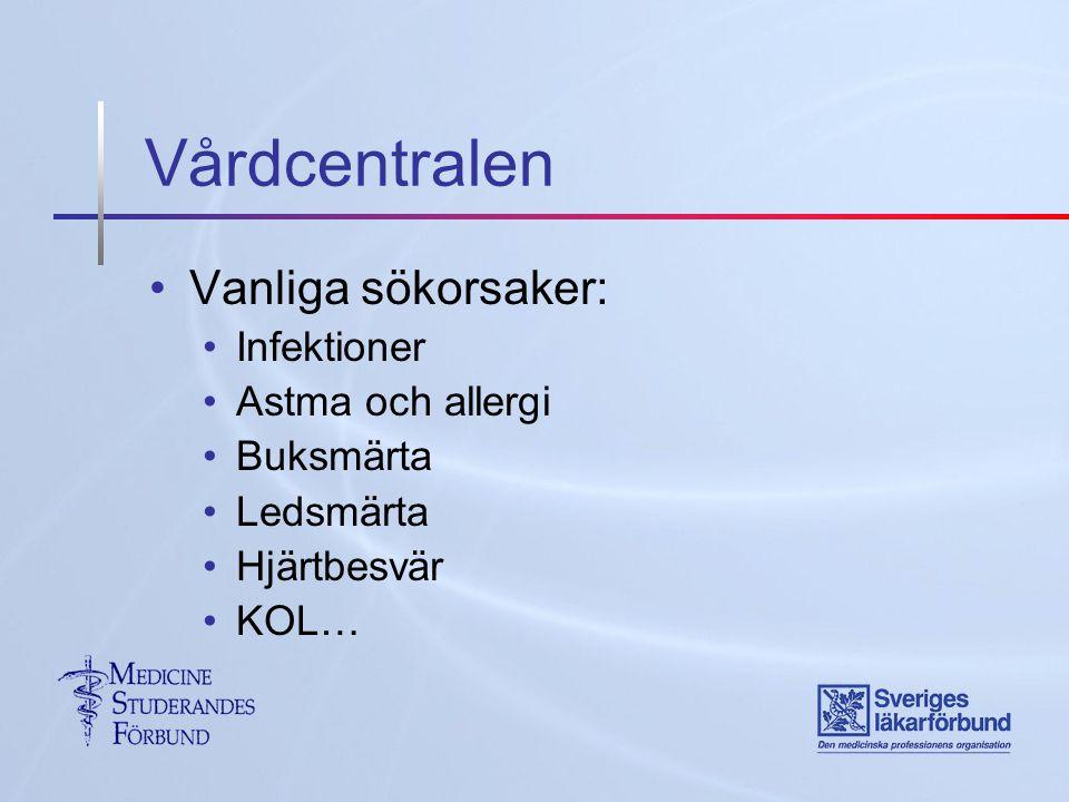 Vårdcentralen Vanliga sökorsaker: Infektioner Astma och allergi