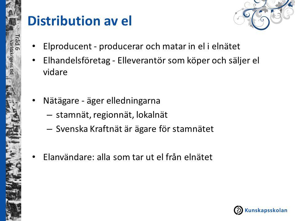 Distribution av el Elproducent - producerar och matar in el i elnätet