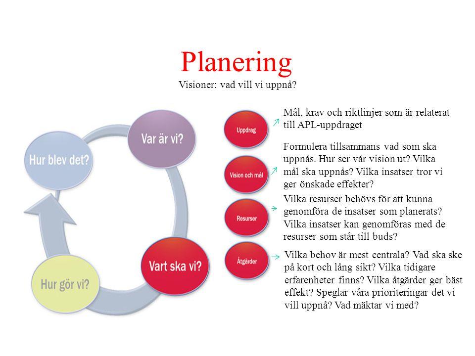 Planering Visioner: vad vill vi uppnå