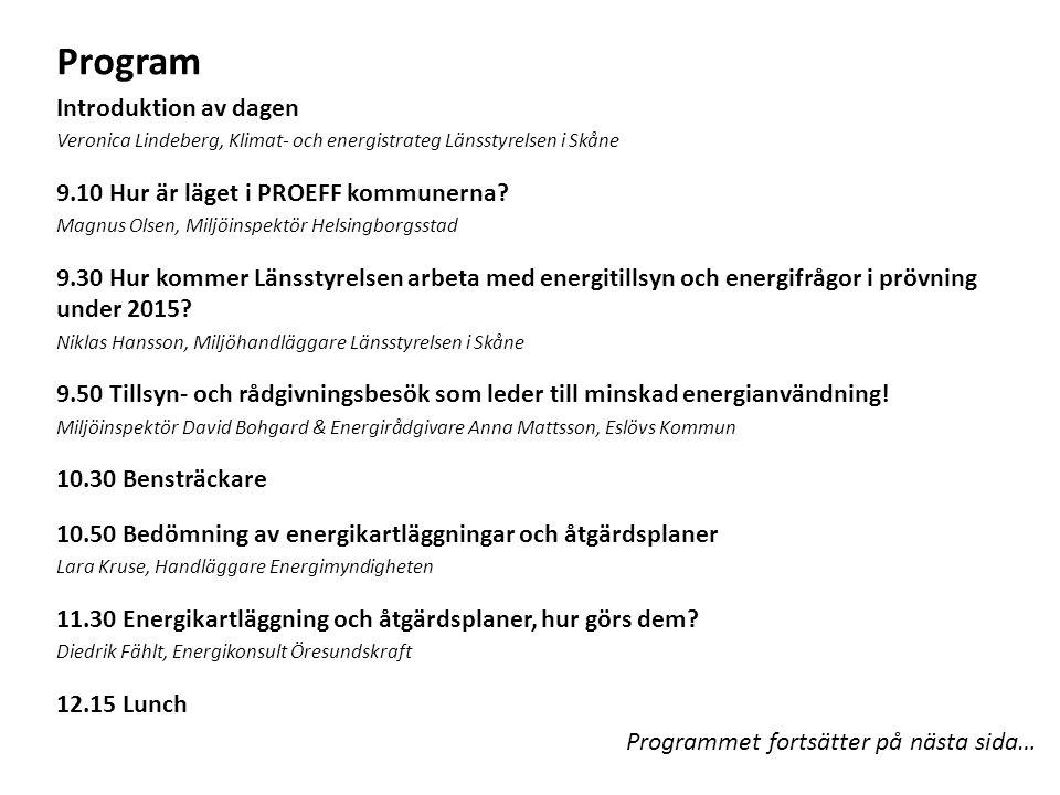 Program Introduktion av dagen 9.10 Hur är läget i PROEFF kommunerna