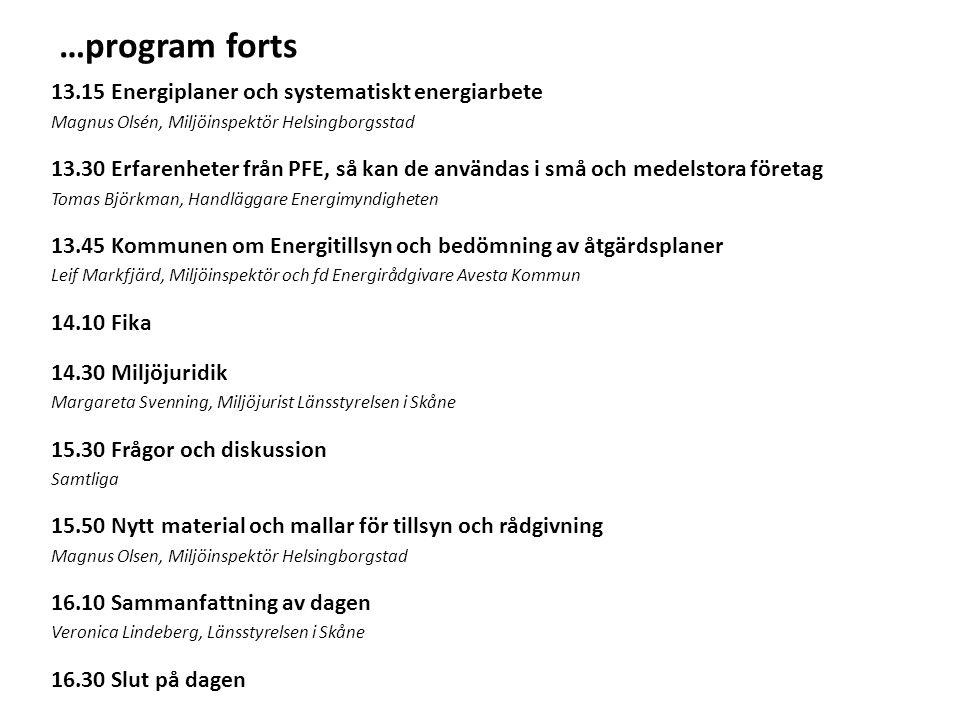 …program forts 13.15 Energiplaner och systematiskt energiarbete