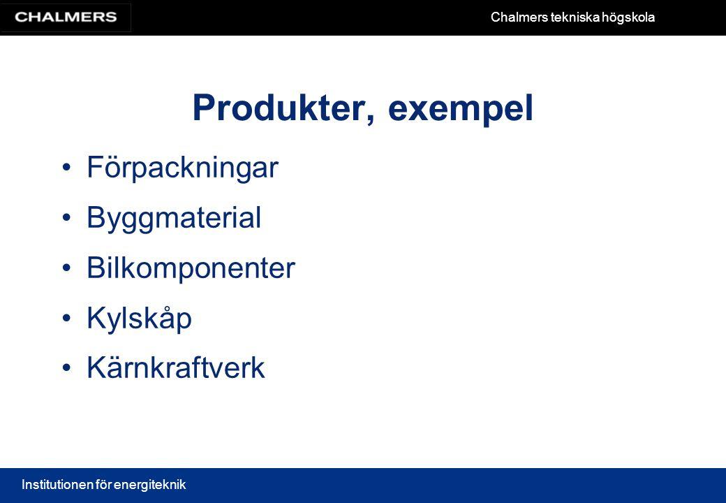 Produkter, exempel • Förpackningar • Byggmaterial • Bilkomponenter
