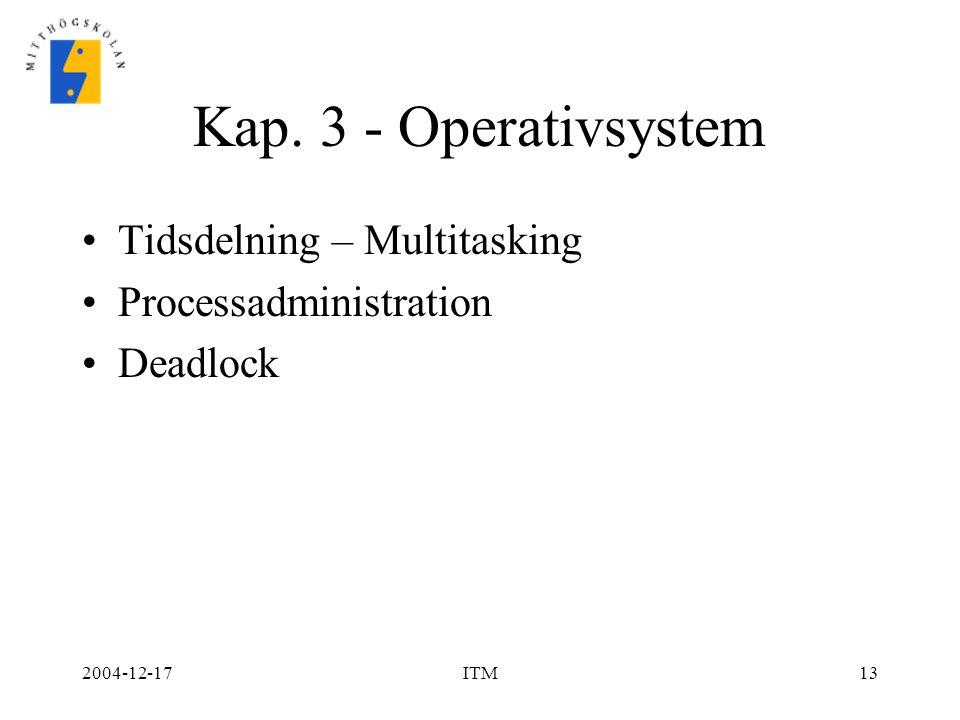 Kap. 3 - Operativsystem Tidsdelning – Multitasking