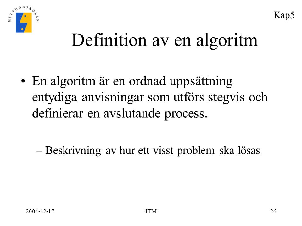 Definition av en algoritm
