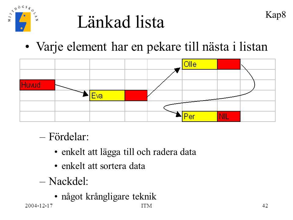 Länkad lista Varje element har en pekare till nästa i listan Fördelar: