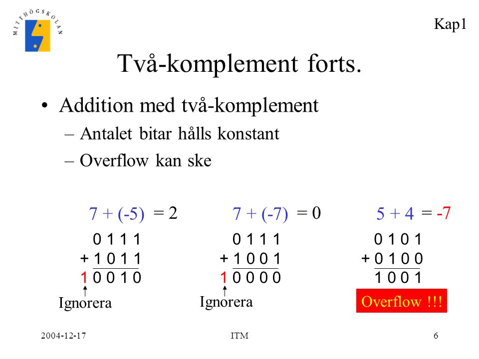 Två-komplement forts. Addition med två-komplement
