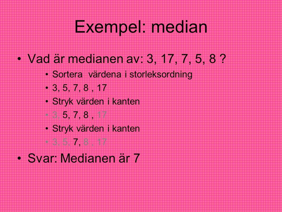 Exempel: median Vad är medianen av: 3, 17, 7, 5, 8