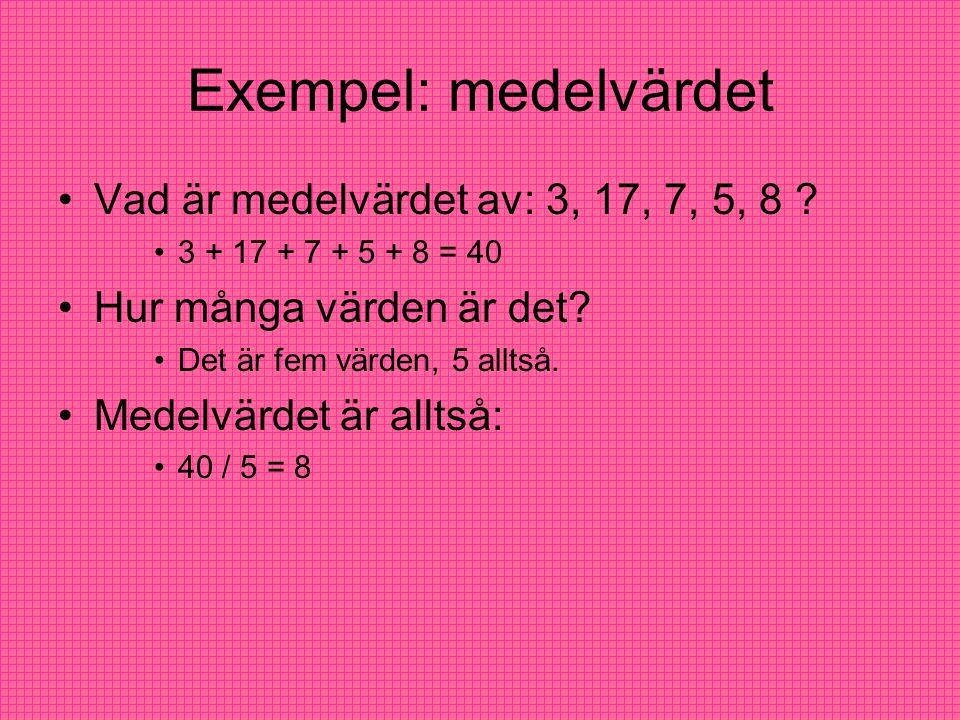 Exempel: medelvärdet Vad är medelvärdet av: 3, 17, 7, 5, 8