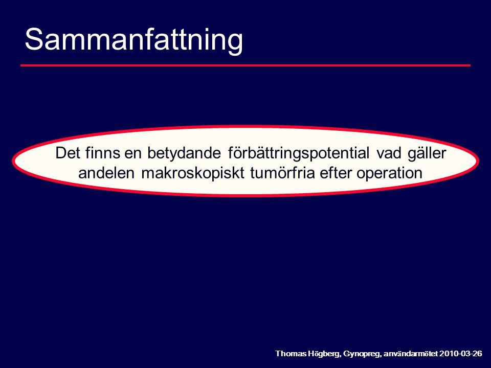 Sammanfattning Det finns en betydande förbättringspotential vad gäller andelen makroskopiskt tumörfria efter operation.