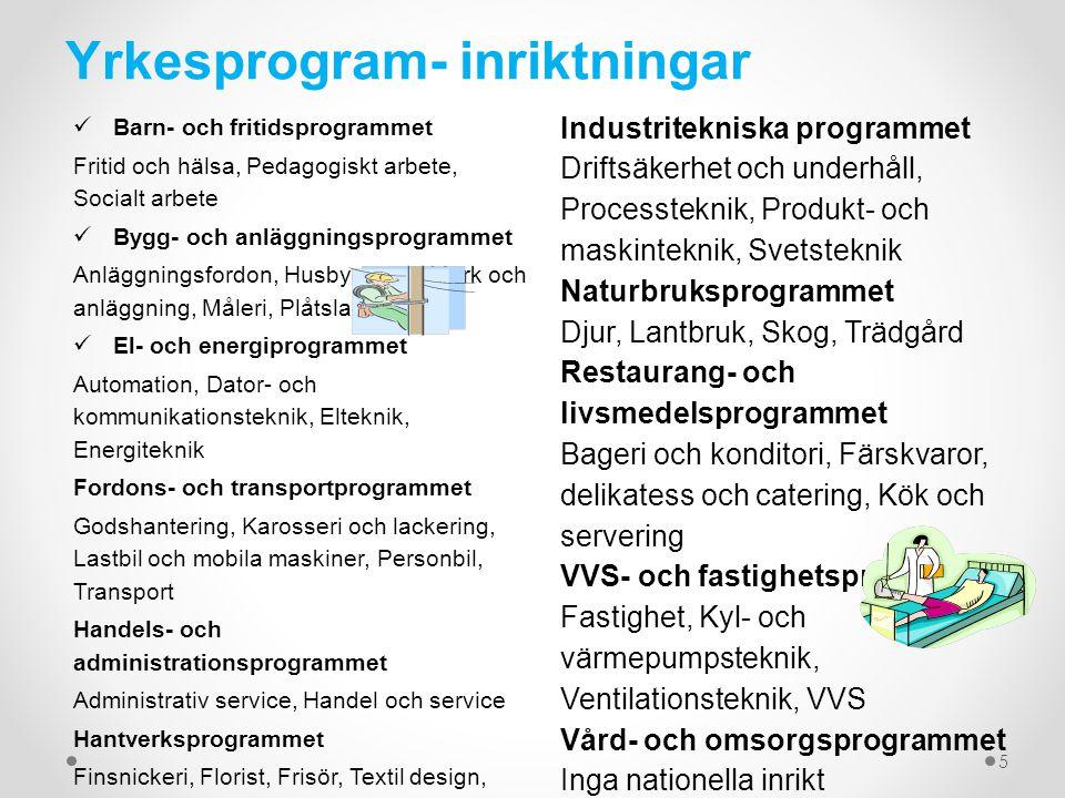 Yrkesprogram- inriktningar
