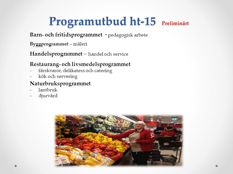Programutbud ht-15 Preliminärt
