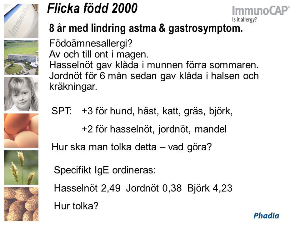Flicka född 2000 8 år med lindring astma & gastrosymptom.