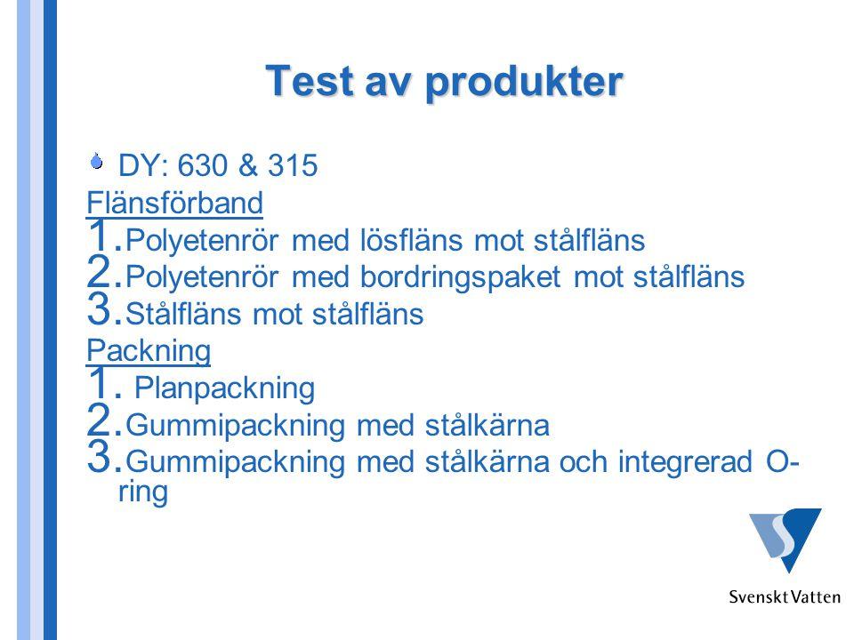 Test av produkter DY: 630 & 315 Flänsförband