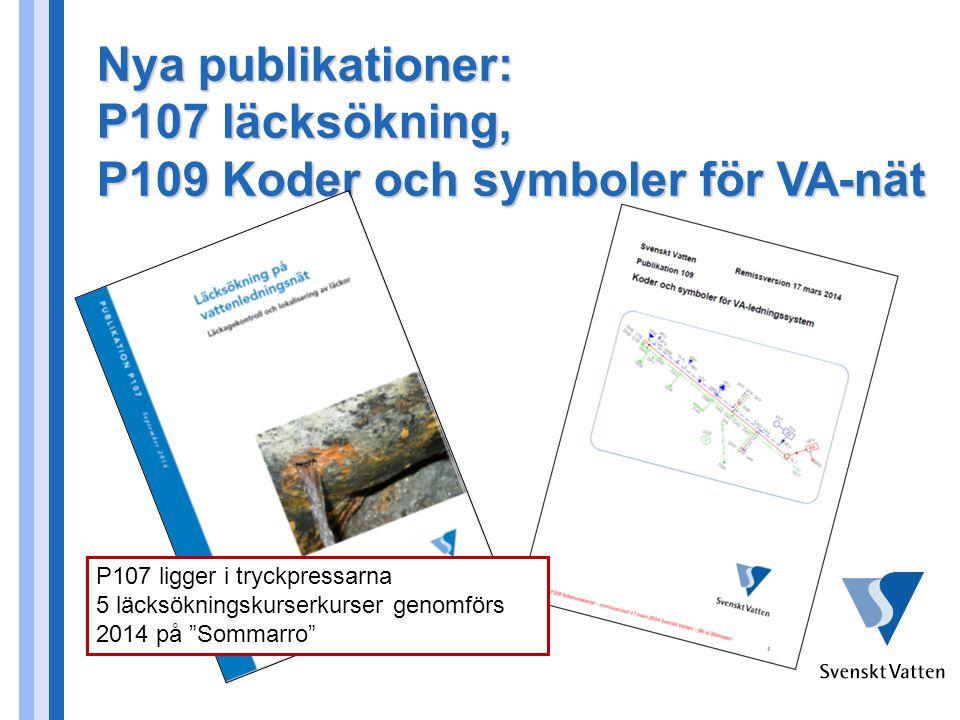 P107 läcksökning, P109 Koder och symboler för VA-nät