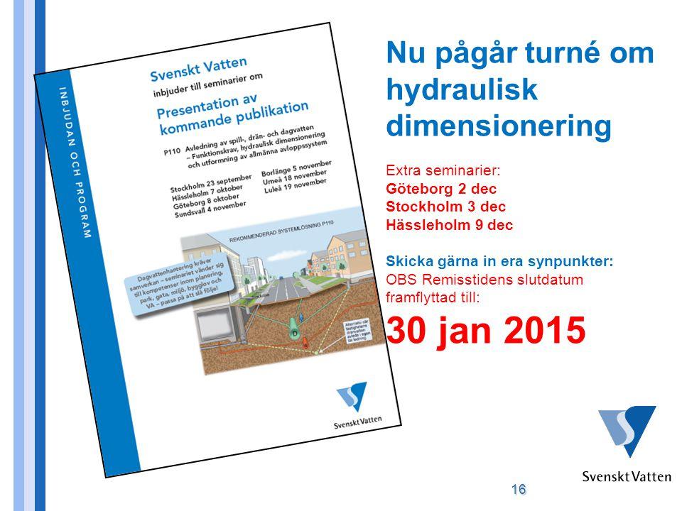 30 jan 2015 Nu pågår turné om hydraulisk dimensionering