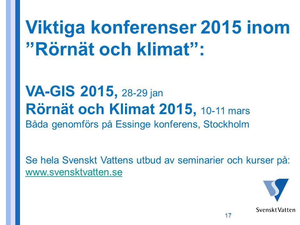 Viktiga konferenser 2015 inom Rörnät och klimat :
