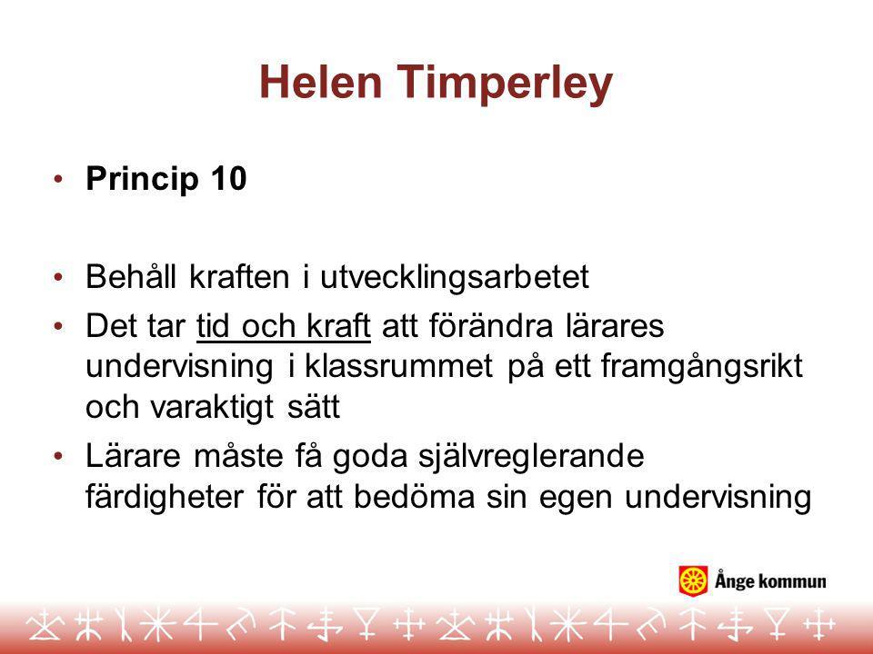 Helen Timperley Princip 10 Behåll kraften i utvecklingsarbetet
