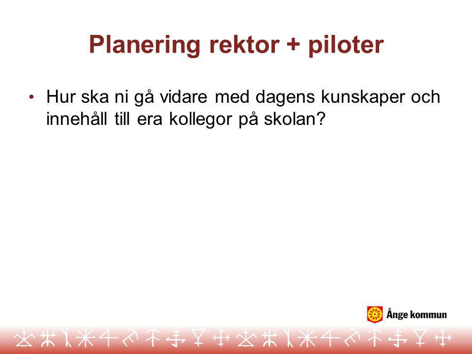 Planering rektor + piloter