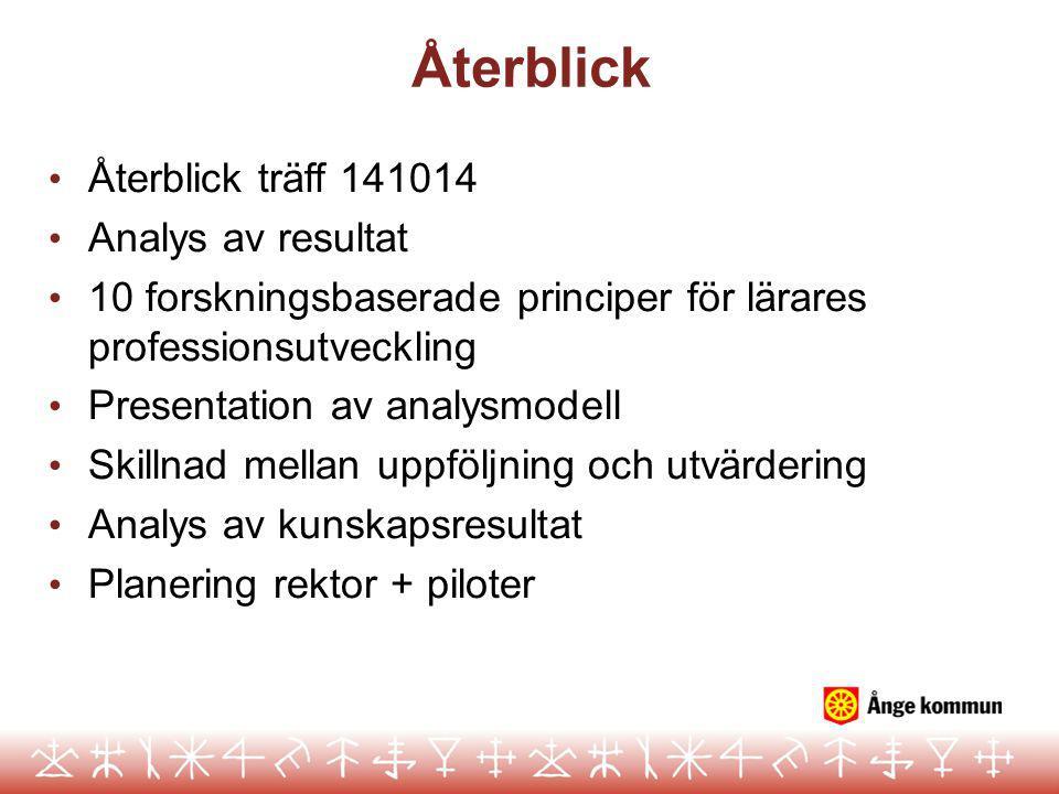 Återblick Återblick träff 141014 Analys av resultat