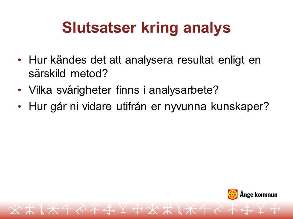 Slutsatser kring analys