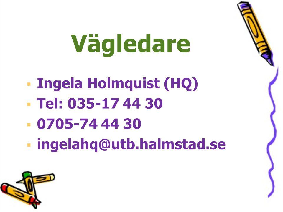 Vägledare Ingela Holmquist (HQ) Tel: 035-17 44 30 0705-74 44 30