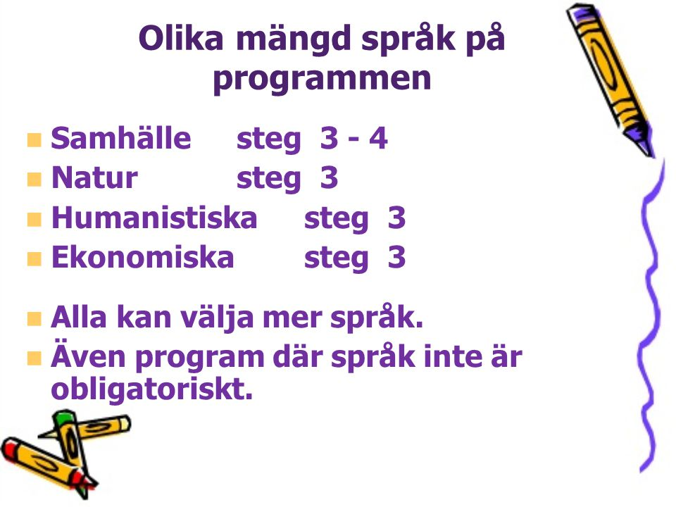 Olika mängd språk på programmen
