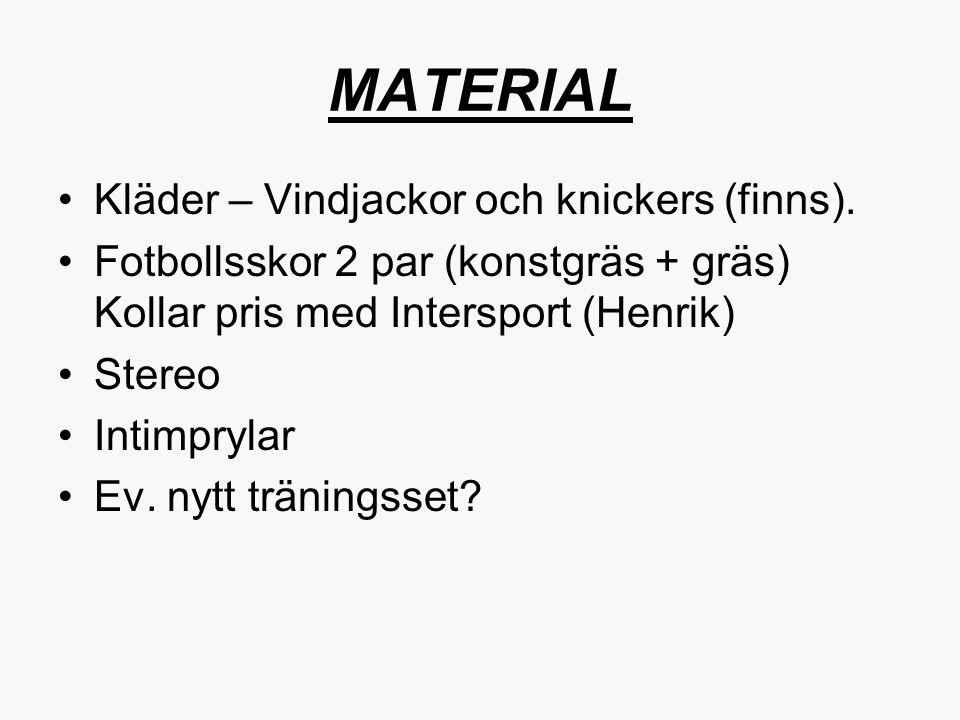 MATERIAL Kläder – Vindjackor och knickers (finns).